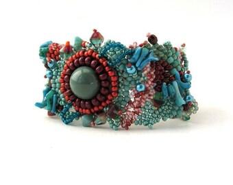 Seed bead bracelet, Free form peyote bracelet, Teal bracelet, Beaded bracelet, Bead jewelry, boho style jewelry, Gift for women