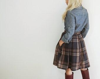 ALISS - Wool Plaid pleated 50s vintage retro style a-line skirt /