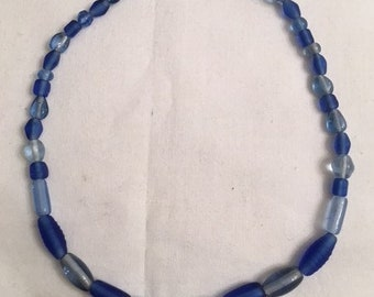 Blue Beaded Choker (#298)