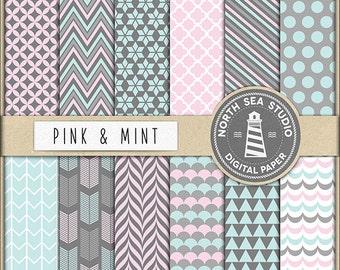 Pink And Mint Digital Paper Pack | Scrapbook Paper | Printable Backgrounds | 12 JPG, 300dpi Files | BUY5FOR8