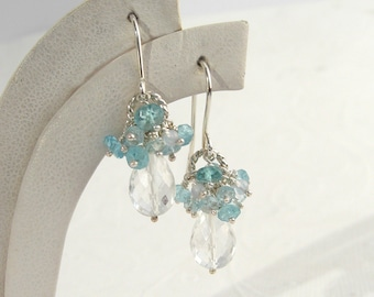 Rock Crystal Earrings 925 silver blue, apatite, aquamarine, clear drops