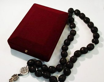 Holy Rosary - Prayer Rope 33 Knots Black aromatic nutmeg with Holy Myrrh - Mount Athos Prayer Rosary 33 beads - Nutmeg Aroma