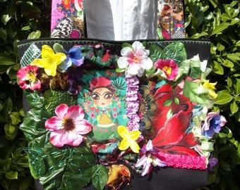 """Sac cabas original """"Frida jungle"""" art textile"""