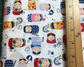Matryoshka dolls cotton fabric