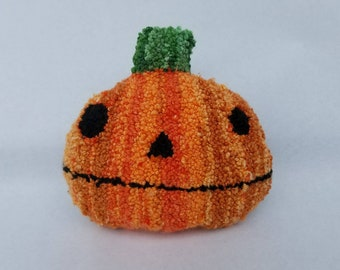 halloween...punch needle pillow...pumpkin perry