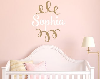 Custom Name Girls Wall Decal LARGE Wall Decal - Girls Personalized Wall Decal - Girls wall decals - swirls wall decals - mono230