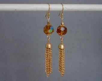 Gold Crystal Tassel Earrings
