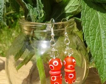 Fun Orange Beaded Earrings (E54)