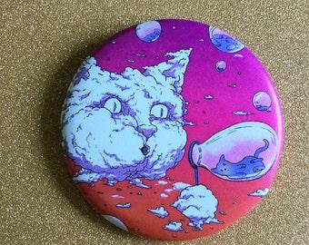 Bubble Blowing Cloud Cat 2.25 Inch Magnet - Sunset, Fridge Magnet, Refrigerator Magnets, Cat Magnet, Kitten Magnet, Cat Artwork