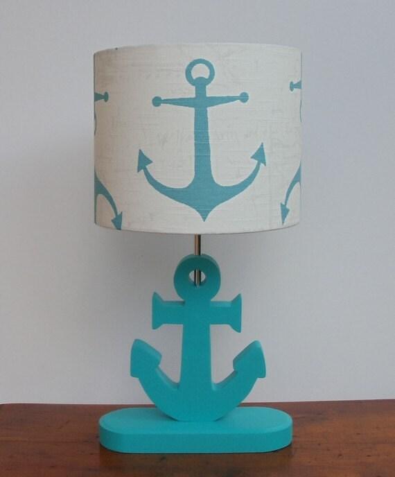 Handmade Medium Aqua Anchor/Nautical Theme Drum Lamp Shade