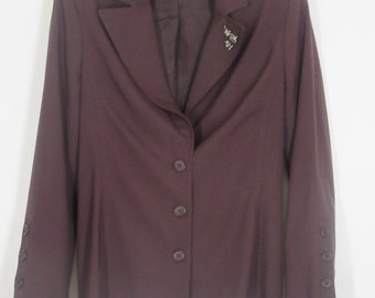Laundry by Shelli Segal Deep Purple Lined Blazer w/an Attached Rhinestone Pin....Tailored Looking..........Size 6