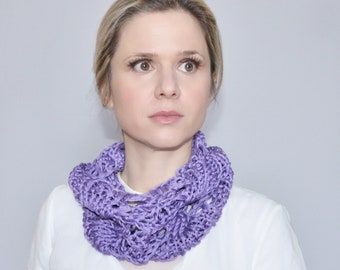 Hand knit lilac cotton scarf