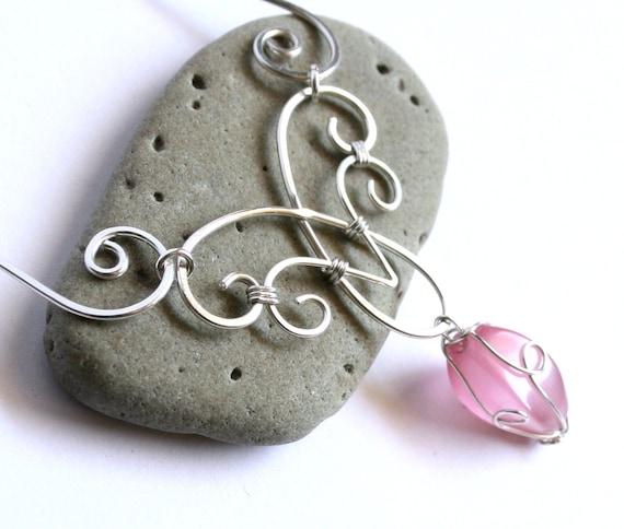 Elven Charm Halskette elegante Wirbel Silberdraht gewickelt