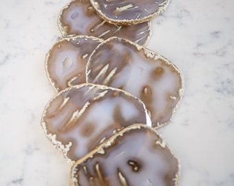 One of a kind NATURAL agate coaster set. Gold rims. gray and tan coasters. Set of 6 coasters