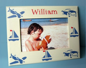 Personalised Photo-Frame, Christening Gift, with Cars, Boats and Planes