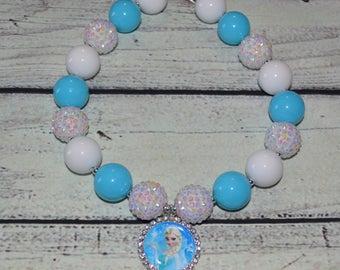 Frozen Chunky Necklace,Frozen Elsa Chunky Necklace,Little Girl Bubblegum Necklace,toddler girl necklace,Frozen Bubble Gum Necklace