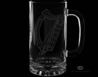 16 Ounce Irish Harp Personalized Beer Mug