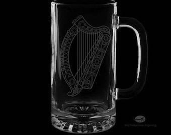 16 onces irlandais harpe chope à bière personnalisée