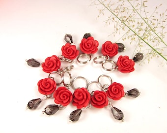 Red Roses Knitting Stitch Markers 10 flowers polymer clay charm, red rose charms, gift for knitters, rose stitch markers, knit, knitting