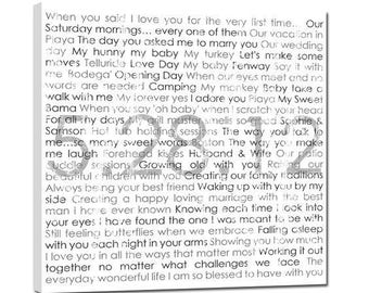 Newlywed Gift - Your Wedding Picture printed on Canvas with your vows or song lyrics 30X30