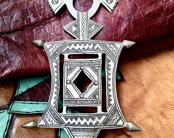 Large Tuareg Cross with Tifinagh signs at the back incl. Leather Cord