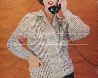 "Lady's Raglan Jacket DK 34-36"" Jaeger 3545 Vintage Knitting Pattern PDF instant download"