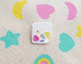 10p Mix Up Enamel Pin Badge - Bag of Sweets - Lapel Pin - Tie Pin