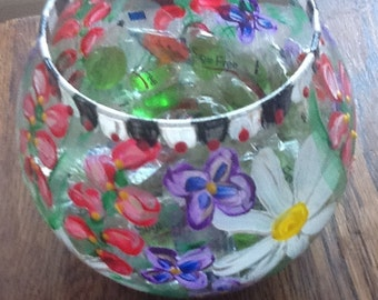 Hand painted glass bowl