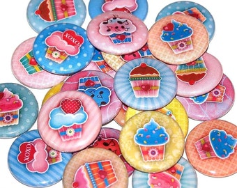 """Sweetheart Cupcake Set of 10 Buttons 1 Inch Pinback Buttons 1"""" Pins or Magnets"""