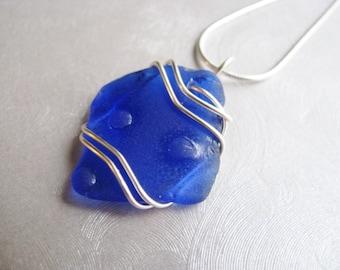 Genuine Sea Glass Statement Pendant - Cobalt Blue Sea Glass - Beach Glass Jewelry Prince Edward Island authentic sea glass -Prince Edward Is