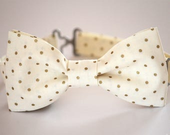 Ivory gold polka dots bow tie, men's bow tie, kid's bow tie, boy's bow tie, wedding bow tie, groomsmen bow tie, ringboy, Christmas bow tie