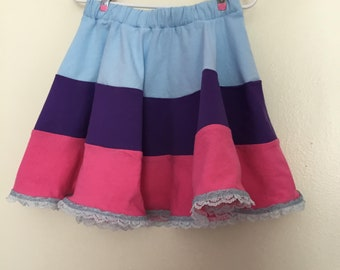 Girl's skirt. Little girl's circle skirt. Cotton jersey skirt. Children's clothing.