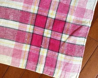 Vintage Tablecloth Pink Plaid Printed