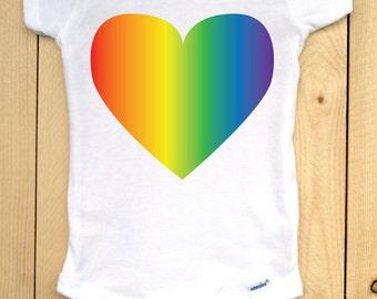 Pride Baby Onesie/ Rainbow Heart Baby Bodysuit/ Heart with Rainbow Gradient Graphic on White, Short-Sleeved Onesie/ Baby Pride Wear
