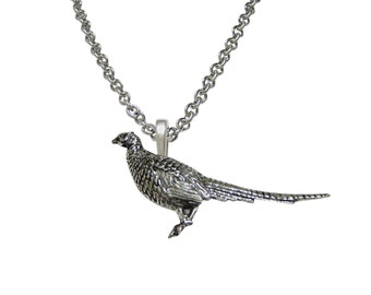Standing Pheasant Bird Pendant Necklace