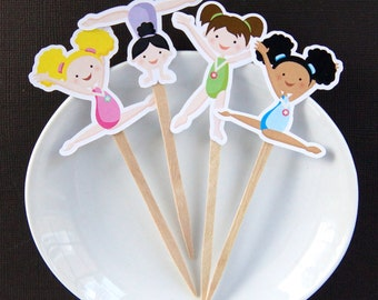 Gymnast Girls DIY Cupcake Topper Kit, Gymnastics Girls Cupcake Toppers, Gymnastics Toppers, Gymnast Cupcake Party Picks or Skewers