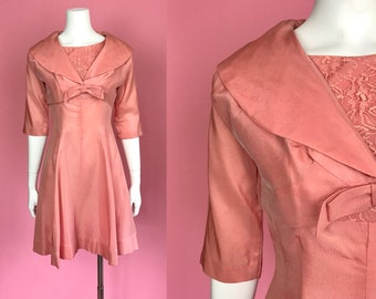 Small ** 1950s PINK SILK lace dress and crop jacket ** vintage fifties salmon pink dress and bolero