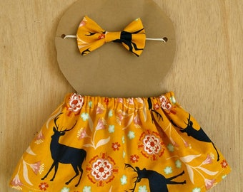 Doll outfit, mustard yellow wildlife pattern doll outfit, dress up outfit, dress up skirt, dress up headband, doll clothes