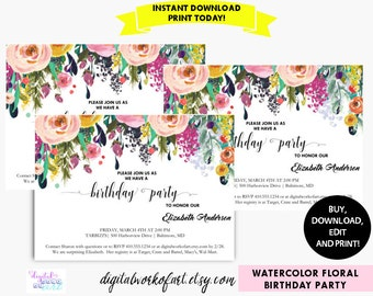 Birthday Party Invitation Template Printable, DIY Watercolor Floral Invitation, Instant Digital Download Invite, Editable PDF Template
