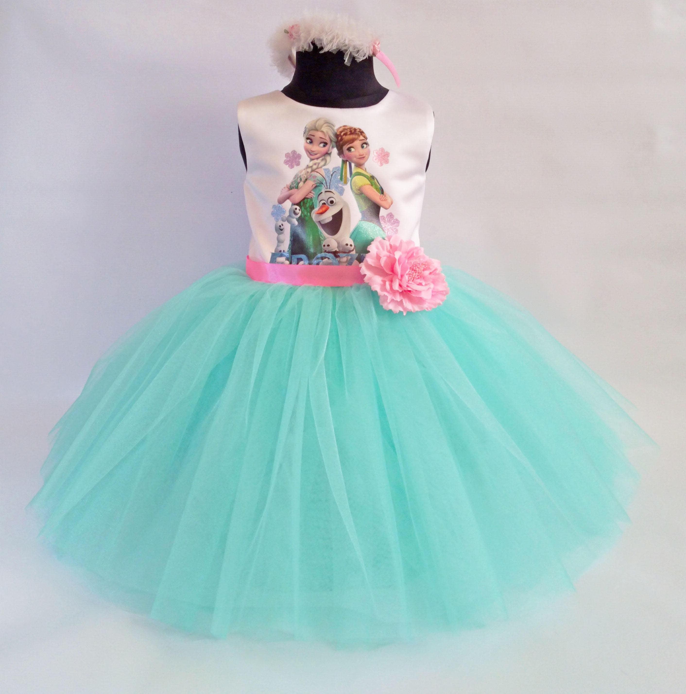 Schöne Elsa und Anna Kleid mit Stirnband Party-Kleid
