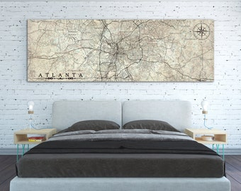 ATLANTA GA Canvas Print With City Names GA Georgia Atlanta Vintage Map City Horizontal  Wall Art