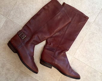 Vintage 80's Charles David Leather Riding Boots Sz 7