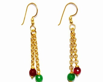 Gold Plated Red and Green Agate on Chain Earrings