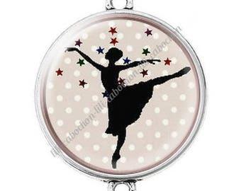 Large silver cabochon connector dancer ballerina 5