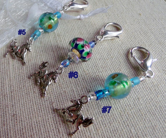 Horse charm zipper pull - travel journal charms - wild horse - equestrian gift  - aqua beaded purse charms - jacket pull -  Lizporiginals
