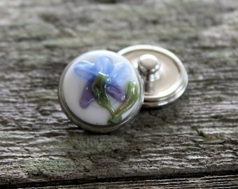 Floral Fantasy Snap Button Blue and Purple Iris