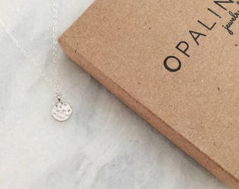 Tiny Sterling Silver Hammered Disc Dainty Necklace