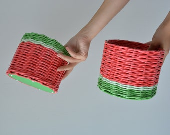 Set of 2 Baskets Watermelons, Basket for Сosmetics, Basket for Sweets
