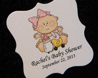 Baby Shower Favor Tags - Baby Girl Tags - Personalized - Baby Girl with Toys - Candy Tags - Cookie Tags - Pink - Square