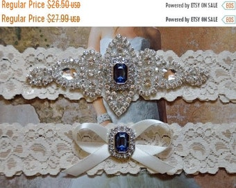 ON SALE Bridal Garter, Wedding Garter Set, Something Blue, Rhinestone Crystal Bridal Garter, Vanessa Style 10721